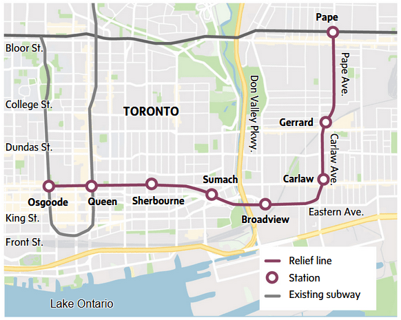 toronto relief line and stations