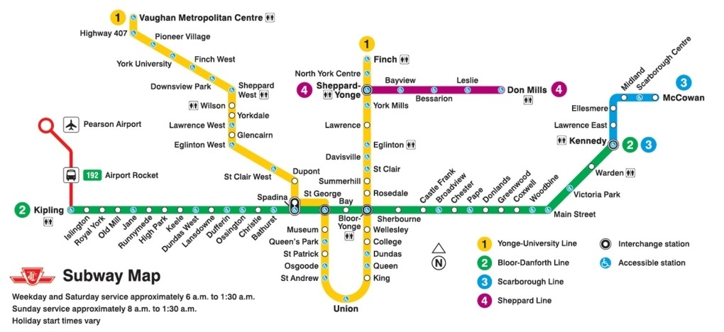 Toronto Subway System - Routes and Stations